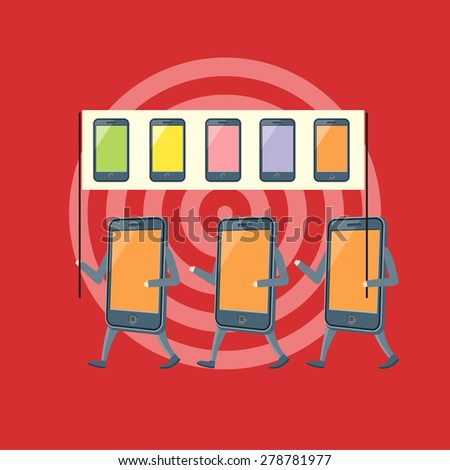 Icon of smartphones demonstration with placards and slogans concept. Mobile revolution. Concept in flat design. Web banners, marketing and promotional materials, presentation templates. Raster version - stock photo