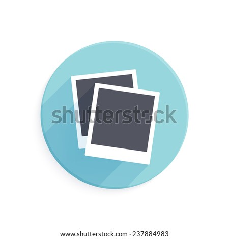 Icon of two instant photo frames in flat style with long shadow - stock photo