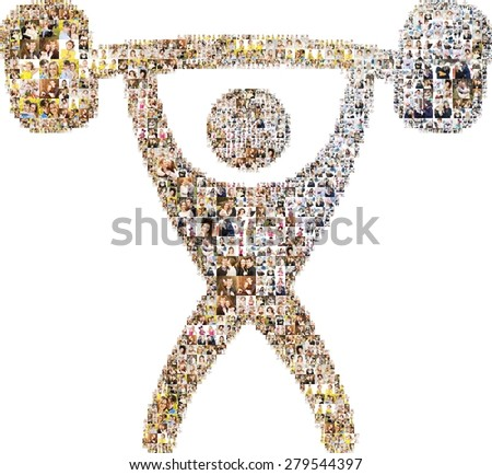 Icon of weight lifting. Formed out of a lot people's portrait photography. - stock photo