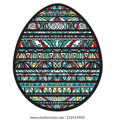 Icon ornamental colorful easter egg with black stripes and colored shapes - raster version - stock photo