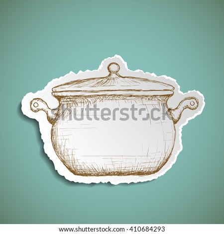 Icon pan for cooking. Doodle image of kitchenware. Stock illustration. - stock photo