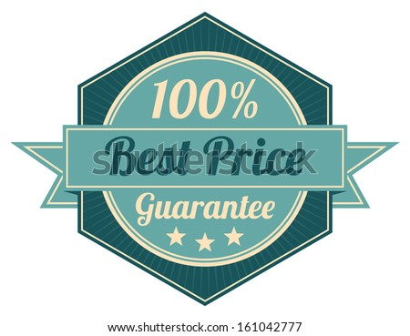 Icon Quality Assurance and Quality Management Concept Present By Blue Vintage Style Hexagon Icon or Shield With 100 Percent Best Price Guarantee Isolated on White Background - stock photo