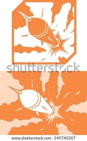 Icon Rocket launch - stock photo