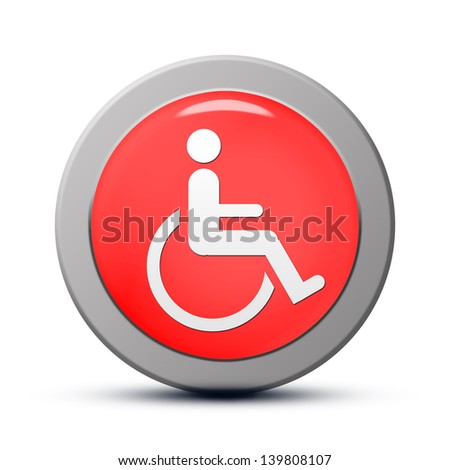 Icon series : red round handicap symbol of accessibility button - stock photo
