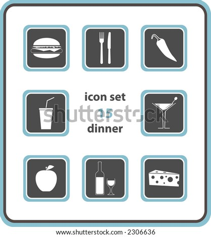 icon set 15: dinner - stock photo