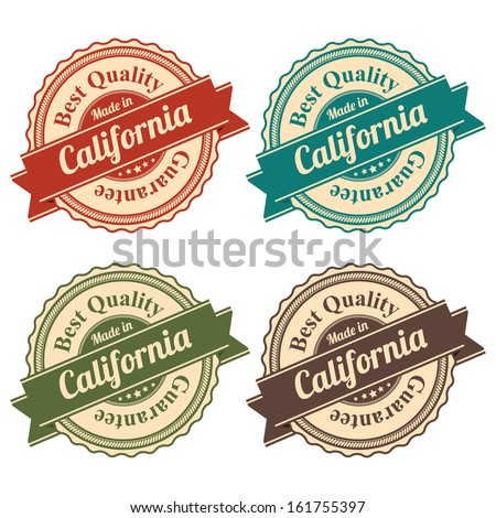 Icon Set for Quality Assurance and Quality Management Concept Present By Circle Colorful Vintage Style Icon With Made in California Best Quality Guarantee Isolated on White Background  - stock photo
