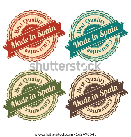 Icon Set for Quality Assurance and Quality Management Concept Present By Circle Colorful Vintage Style Icon With Made in Spain Best Quality Guarantee Isolated on White Background  - stock photo