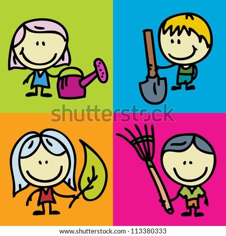 Icon set of doodle happy children with garden tools - stock photo
