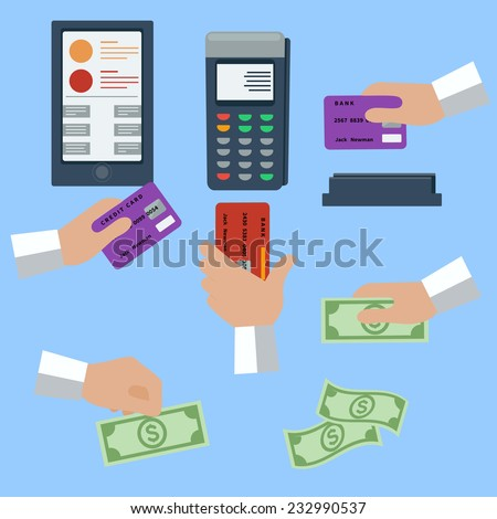 Icon set with hands holding cash and credit cards on blue background. Raster version - stock photo
