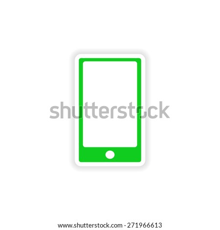 icon sticker realistic design on paper phone touch  - stock photo