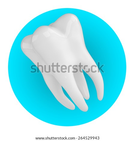 Icon  tooth on a blue circle , 3d render - stock photo