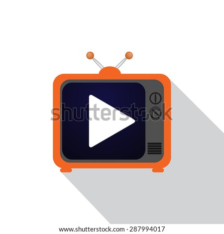 Icon TV flat - stock photo