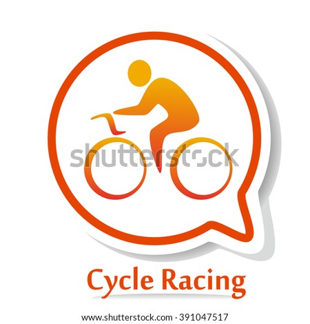 Icon with Bicycle race silhouette. Cycle race. Cycle racing icon. Cycle racing illustration - stock photo