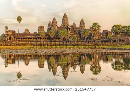 Iconic Angkor Wat reflecting in Lake, Siem reap, Cambodia. - stock photo