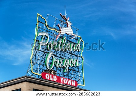 Iconic Portland, Oregon Old Town sign with an outline of Oregon and a stag - stock photo