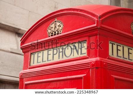 iconic red telephone box - stock photo