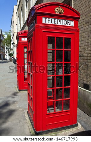 Iconic red telephone boxes in London. - stock photo