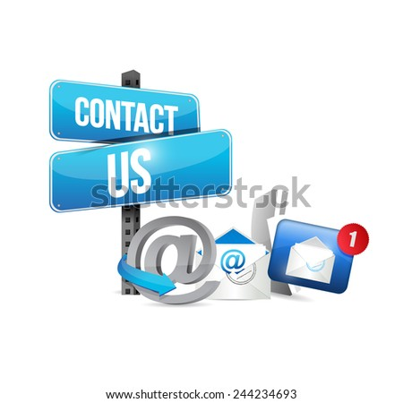 icons contact us communication illustration design over a white background - stock photo