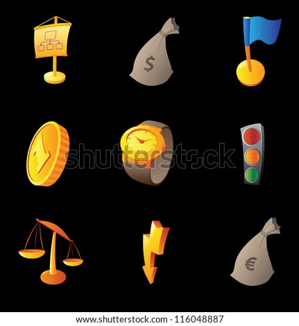 Icons for business and success, black background. Raster version. Vector version is also available. - stock photo
