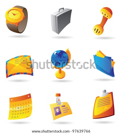Icons for business office. Raster version. Vector version is also available. - stock photo