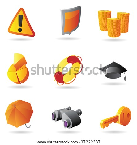 Icons for business security. Raster version. Vector version is also available. - stock photo