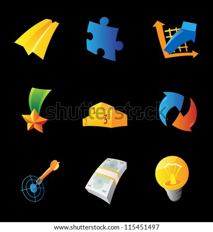 Icons for business symbols on black background. Raster version. Vector version is also available. - stock photo