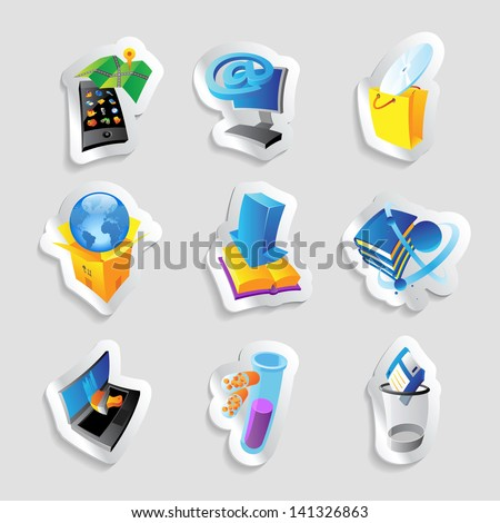 Icons for industry, energy and ecology. Raster version. Vector version is also available. - stock photo