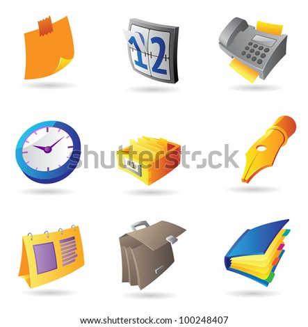 Icons for office and stationery. Raster version. Vector version is also available. - stock photo