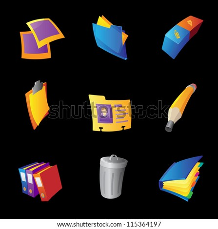 Icons for office, black background. Raster version. Vector version is also available. - stock photo