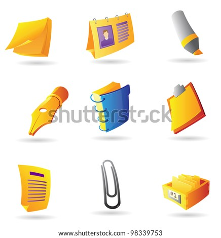 Icons for office items. Raster version. Vector version is also available. - stock photo