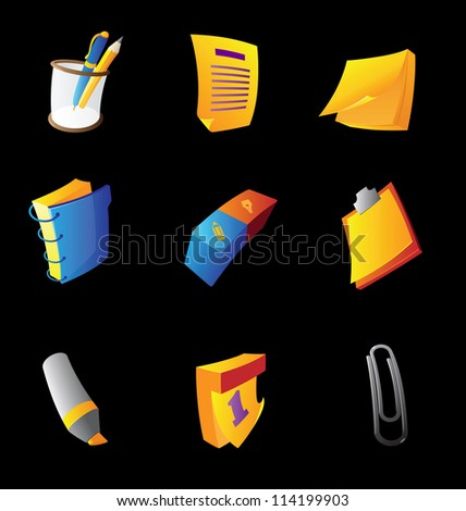 Icons for office stationery, black background. Raster version. Vector version is also available. - stock photo