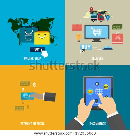 Icons for online shop, e-commerce, payment methods and delivery in flat design. Raster version - stock photo