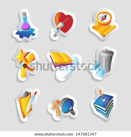 Icons for science, education and medicine. Raster version. Vector version is also available. - stock photo