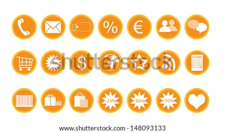 Icons for shop and buy in orange color - stock photo