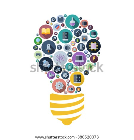 Icons for technology, industrial and science arranged in light bulb shape. - stock photo