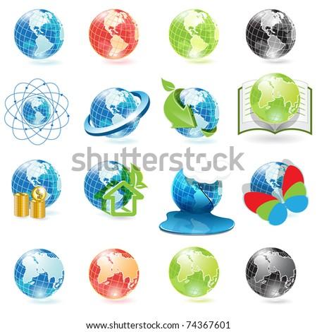 icons globe - stock photo
