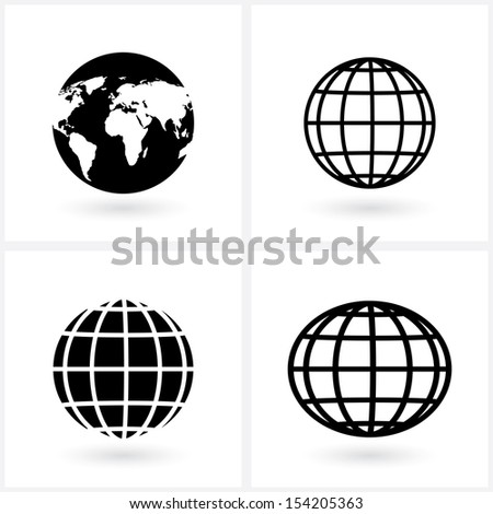 icons globes.(rasterized version) - stock photo