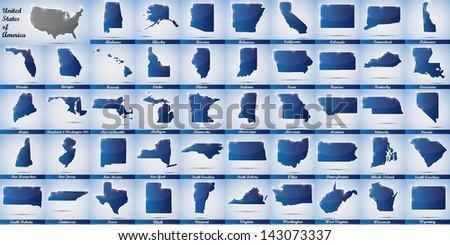 icons in form of all states of the USA - stock photo