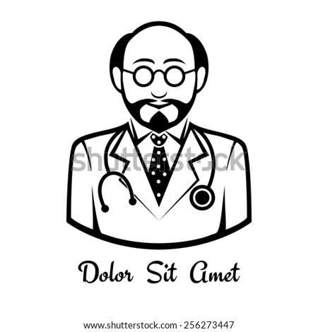 Icons male doctor drawn black lines. Space for text - stock photo