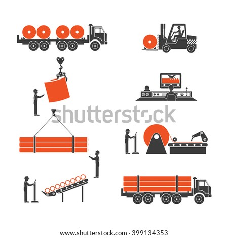 icons metallurgy production of pipes - stock photo