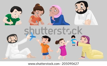 Icons of Arabian Characters - stock photo