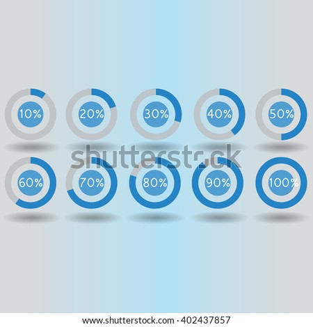 icons pie graph circle percentage blue chart 10 20 30 40 50 60 70 80 90 100 % set illustration round raster - stock photo