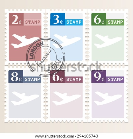 icons set mail stamps - stock photo