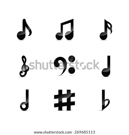 Icons set music note. Black musical notes isolated on white background. Raster copy. - stock photo