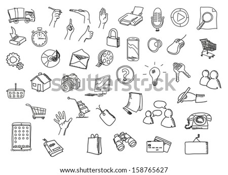 icons sketch - stock photo
