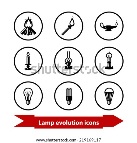 Icons with lamp (light) evolution. From bonfire to LED lamp. Rasterized version. - stock photo