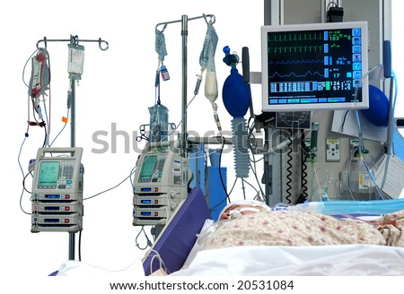 ICU room in a hospital with medical equipments and a patient isolated in white - stock photo