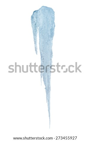 Icy icicle on a white background - stock photo