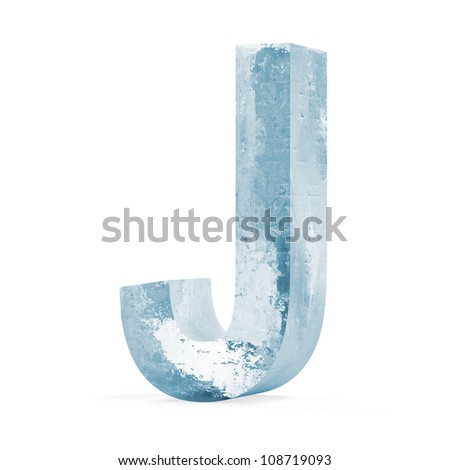 Icy Letters isolated on white background (Letter J) - stock photo