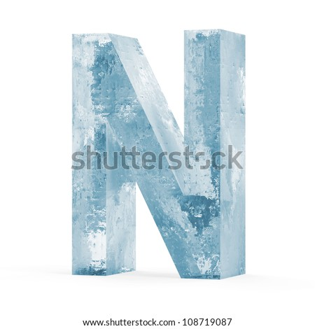 Icy Letters isolated on white background (Letter N) - stock photo